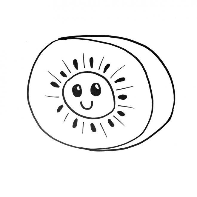 kiwi dibujo para colorear divertido niños, kiwi colorear
